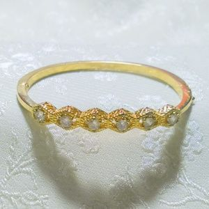 Hinged Gold Tone Clear Rhinestone Hinged Bangle